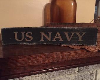US Navy - primitive wooden distressed shelf sitter