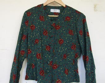St Michaels Green Crop Jacket with Rose Design - 12