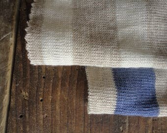 light LINEN jersey with stripes in off white, indigo blue and natural _ fabric by yard