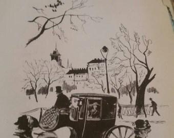 Antique book prints 1944 Spain paper ephemera victorian, collage, craft, wall art