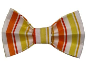 Orange and Yellow Vertical Stripes Dog Bow Tie