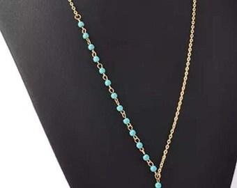 Vintage Boho style gold tone necklace.  Beautiful turquoise colored beads.