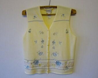 Yellow Ivory Floral Women Vest Romantic Comfortable Large Size Waistcoat Blue Flowers 123