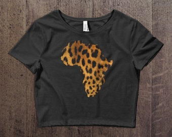 African leopard women crop tee