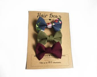 Fabric Hair Bows, Set of 3, Pretty Floral, Hair bows for toddlers, Girls, 100% Cotton