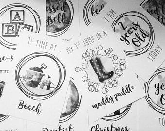 12 A6 Toddler Milestone Cards - Bear Design