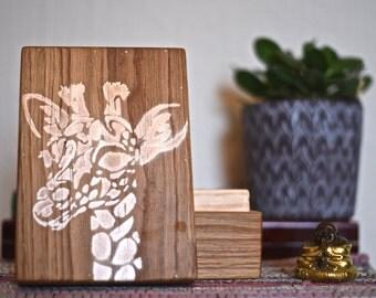 wooden box animal motif, reclaimed oak