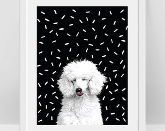 Poodle Dog Poster, White Poodle Art, Poodle Print, Black and White Kids Room Decor, Dog Lover Gift, Dog Wall Art, Animal Art Baby Room Theme