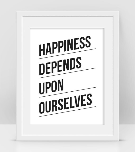 Aristotle Quotes On Happiness: Happiness Depends Upon Ourselves Aristotle Quote Encouraging