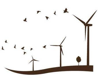 Wind Turbine With Birds - Sticker/ Vinyl / Decal