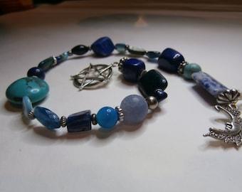 Pagan Crystal Prayer Beads-Blue