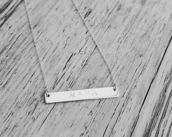 MAMA- Sterling Silver Rectangle Bar Necklace