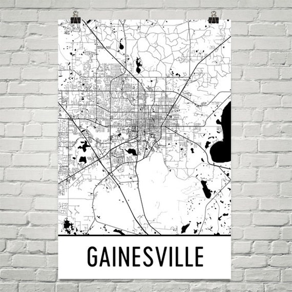 Gainesville Map Gainesville FL Art Gainesville Print