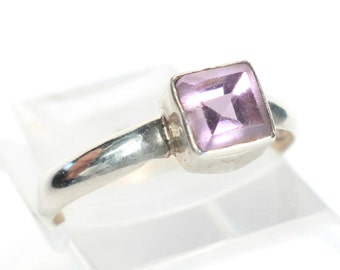 Amethyst Ring Sterling Silver Tiny Small Ring Gift for Her Birthday February Birthstone