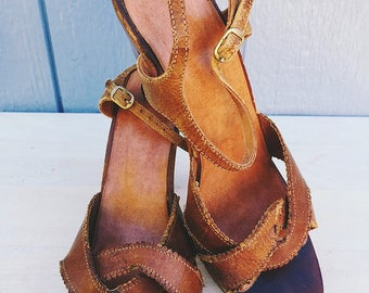Vintage brown leather wooden heels