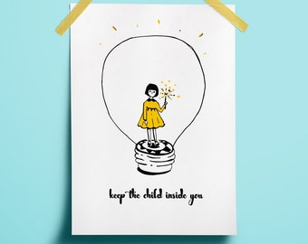 Nursery collectibles Yellow art decor Child poster decor Yellow art printable Line art poster Print yellow black Art christmas light Festive