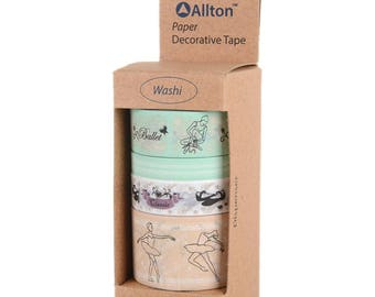 Ballet Washi Tape with Dispenser 5m 4/Pkg - Allton