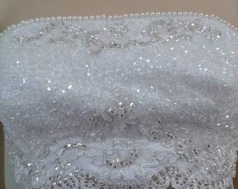 White sateen emroidery bustier, sateen bustier,  emroidery bustier,  beads emroidery top, white sateen bralette, beaded  strapless bustier