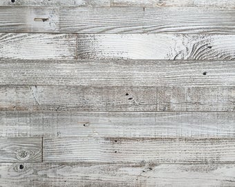 Reclaimed Barn Wood Wall Panel- Easy Peel and Stick Application (20 Sq Ft, Whitewashed Barn Wood)