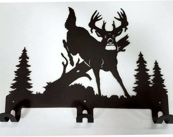 Rustic Deer Coat Hook, Towel Hook, Oil Rubbed Bronze Powder Coat