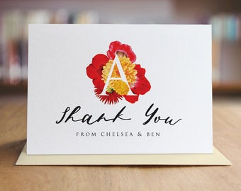 Personalized Thank You Note Card Set /  Watercolor Flowers Thank You Cards / Folded Shimmer Note Cards - T209