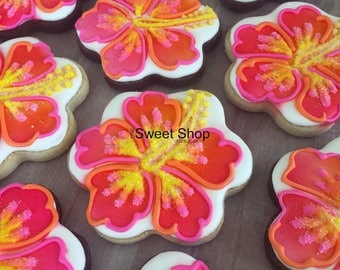 Hibiscus Flower Iced Sugar Cookies