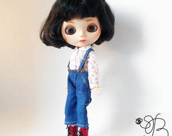 jeans for Blythe, denim pants, denim trousers with braces