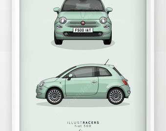 New Fiat 500 Print (Various Colours)