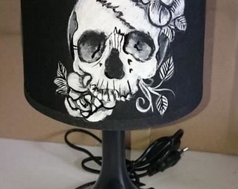 skull pink flower bedside lamp hand painted