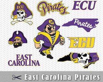 ECU Pirates Logo SVG PNG Vector Cut File Silhouette Cameo Cricut Design Stencil Vinyl Decal Heat Transfer Paper Iron East Carolina Pirates