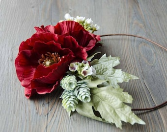 Adorable poppy flower crown, with pine cones and wax flowers, wedding crown