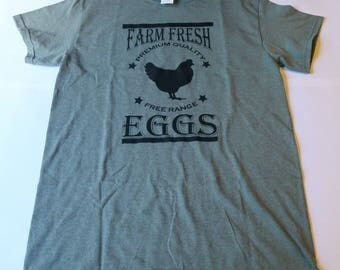 Farmhouse shirt - Farm fresh eggs/free range/farm shirt/v neck/chicken shirt