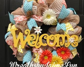 Welcome Wreath, spring wreath, Summer Wreath, Front Door Wreath, everyday wreath, handmade, gift idea, natural wreath, burlap wreath