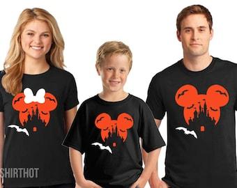 Disney Halloween Couple shirts, Disney Halloween Castle Shirts, Disney Family Halloween tshirts, Mickey and Minnie Couple Shirts, Family T