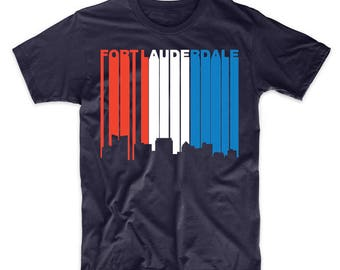 Retro Style Red White And Blue Fort Lauderdale Florida Skyline T-Shirt