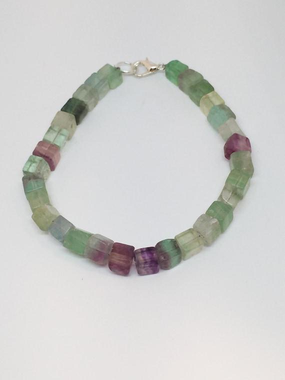 Fluorite Bracelet, Gemstone Bracelet, Beaded Bracelet, Mala Bracelet, Gift For Her, Meditation Bracelet, Yoga Bracelet, Boho Bracelet