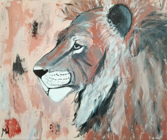 LION Löwe ORIGINAL acrylic painting Africa Lion King, portrait, abstract, white black brown King