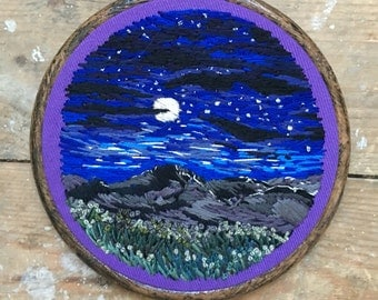 Midnight starry sky hand embroidered