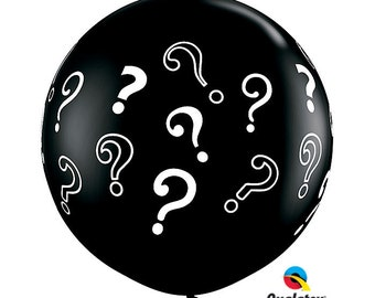 Gender Reveal. Giant Round black Balloon question Mark perfect for Gender Reveal,