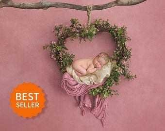 Newborn digital backdrop heart wreath of fresh flowers. Instant download digital background. Hires jpg file