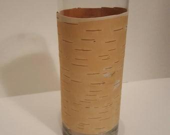 Natural birch bark candle holder.