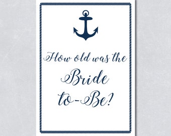 How old was the bride to be / Bridal shower game / Nautical navy blue / Anchor / Beach themed / DIY Printable / INSTANT DOWNLOAD