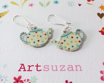 Lovely jolly spotty Tea pot earrings, hand painted wooden earrings on silver earring findings.