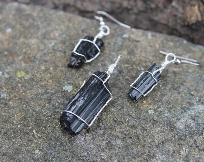 Black Tourmaline Pendant and Earring Jewelry Set; Natural Stone Mineral Specimen Necklace and Earrings, Earthy BoHo Hippie Jewelry