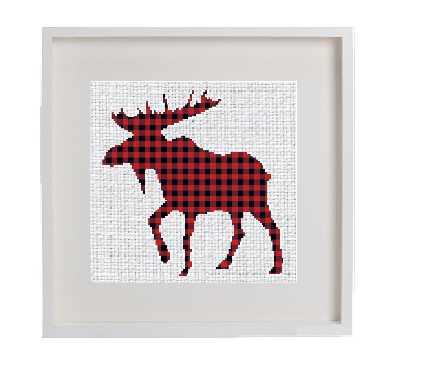 Moose cross stitch pattern buffalo plaid moose lumberjack decor geometric modern cross