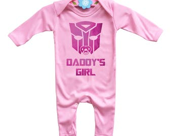 Transformers inspired Daddy's girl baby's pink long sleeve rompersuit onesie.