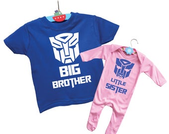 Transformers  inspired Big Brother and Little Sister t-shirt and ropmersuit onesie set.
