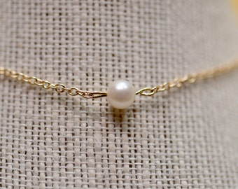Real Petite Fresh Water Pearl and Chain Necklace in Gold, Silver & Rose Gold