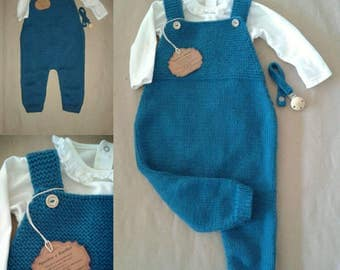 Cotton Merino Hand knitted Baby Romper / Baby jumpsuit / Baby Dungarees / Baby Onesie / Baby Overalls / Baby Bodysuit