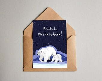 Post card, Merry Christmas - polar bear